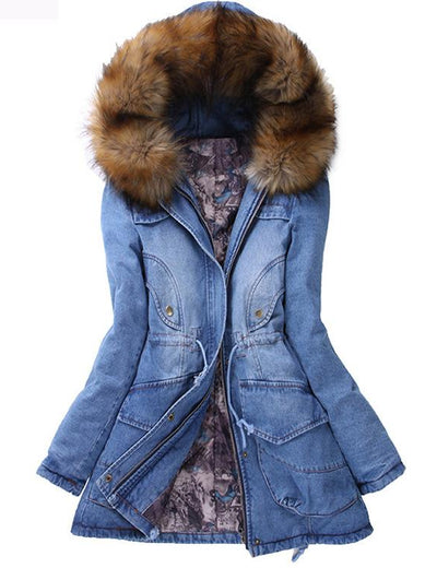 Long Fluffy Hood Denim Coat - Everyday Denim