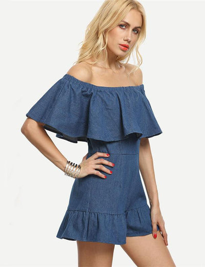 Retro Ruffled Denim Romper - Everyday Denim