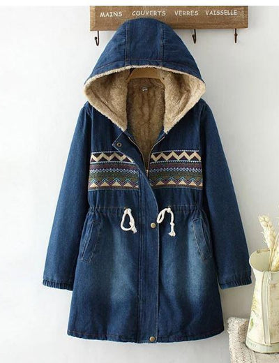 Fleece Lined Hooded Denim Coat - Everyday Denim