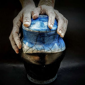 Blue Cremation Urn, Hand Crafted, One of a Kind