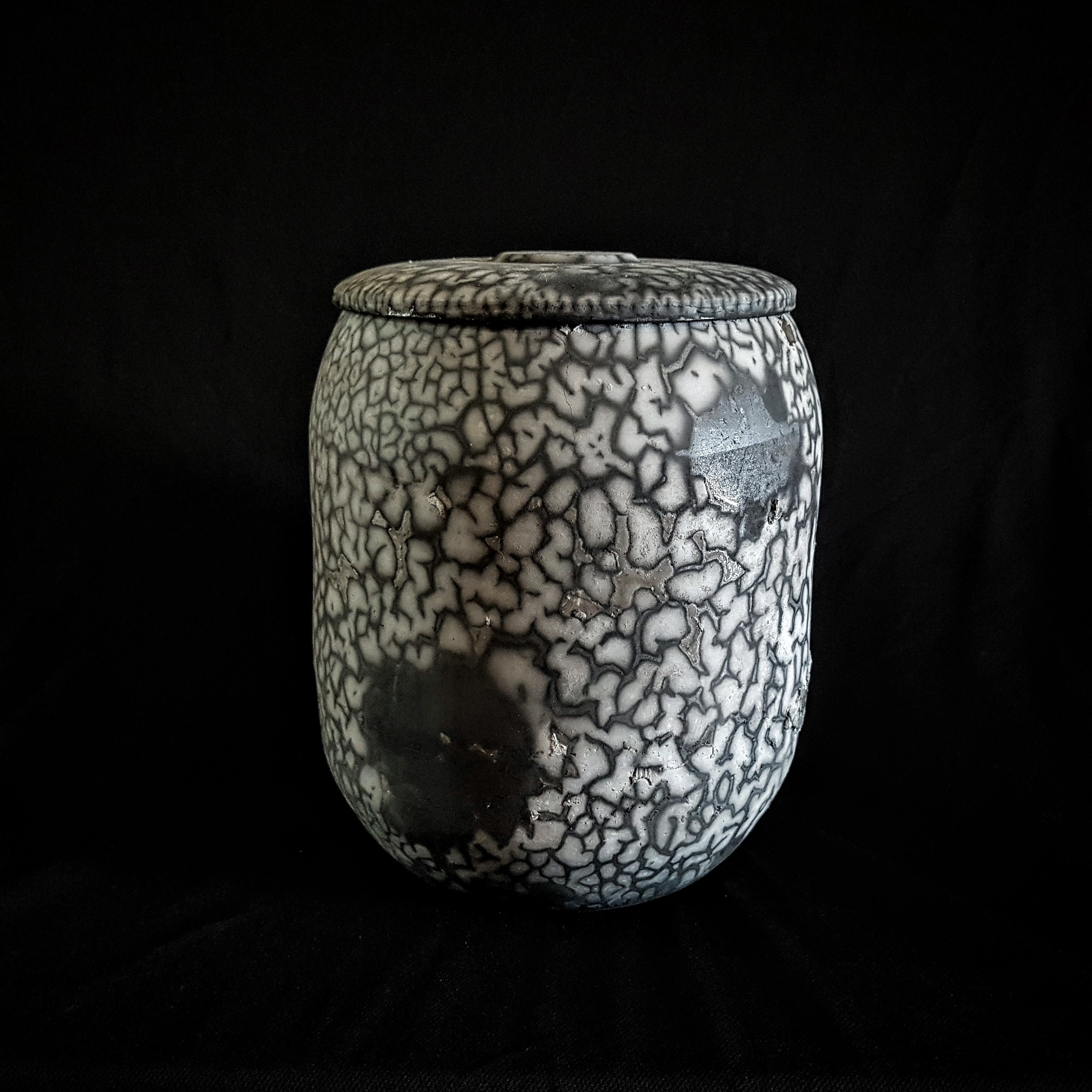 White spot Artistic Unique Urn, One of a Kind piece Handcrafted by Naiimpotery.