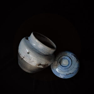 Light Blue Handmade Artisan Unique dogs Urn.