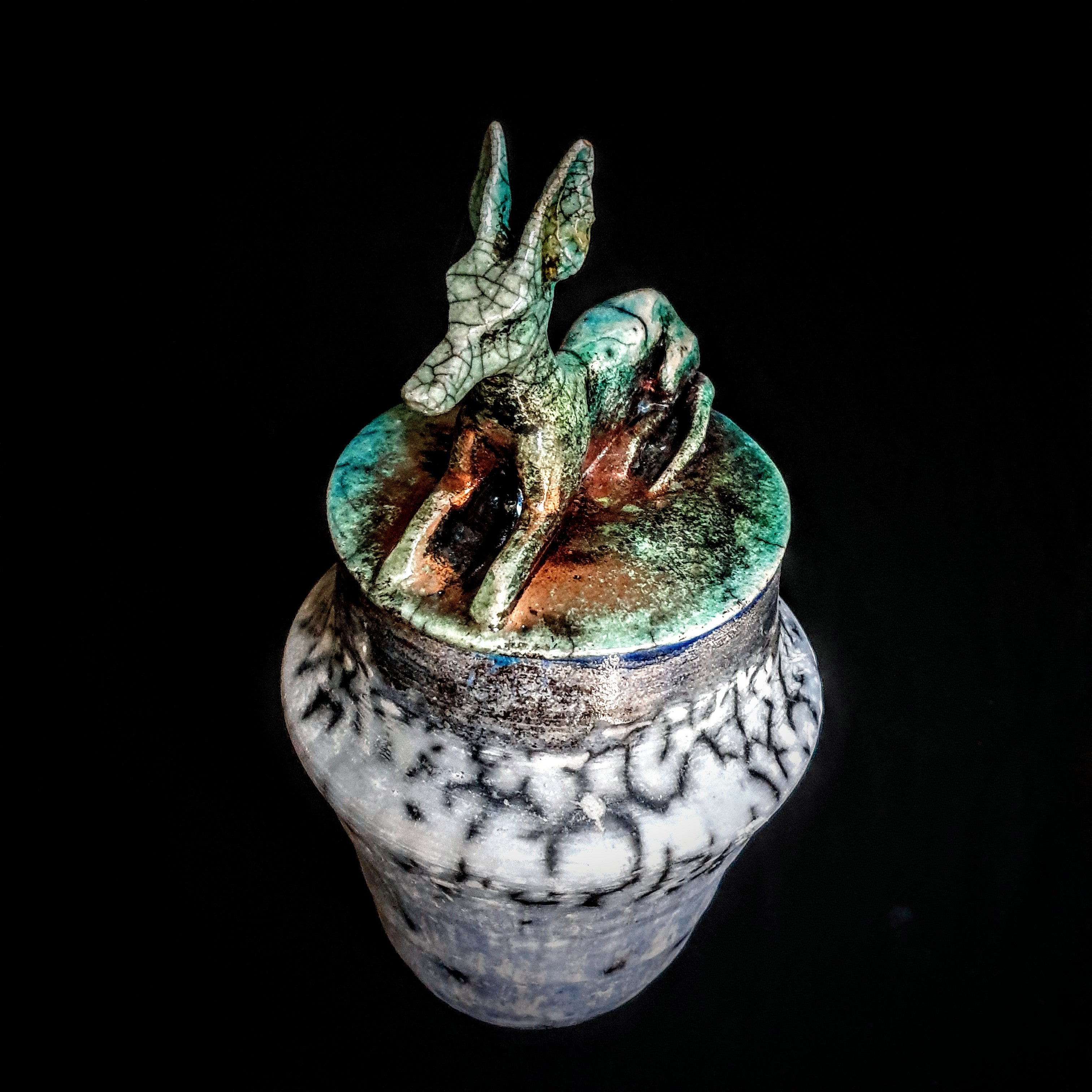 Artistic Antique Urn for Ashes, Unique sculpture cremation Urn for Humans and Pets