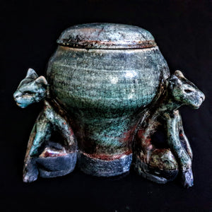 3 cats Keepsake Raku Urn for sharing ashes