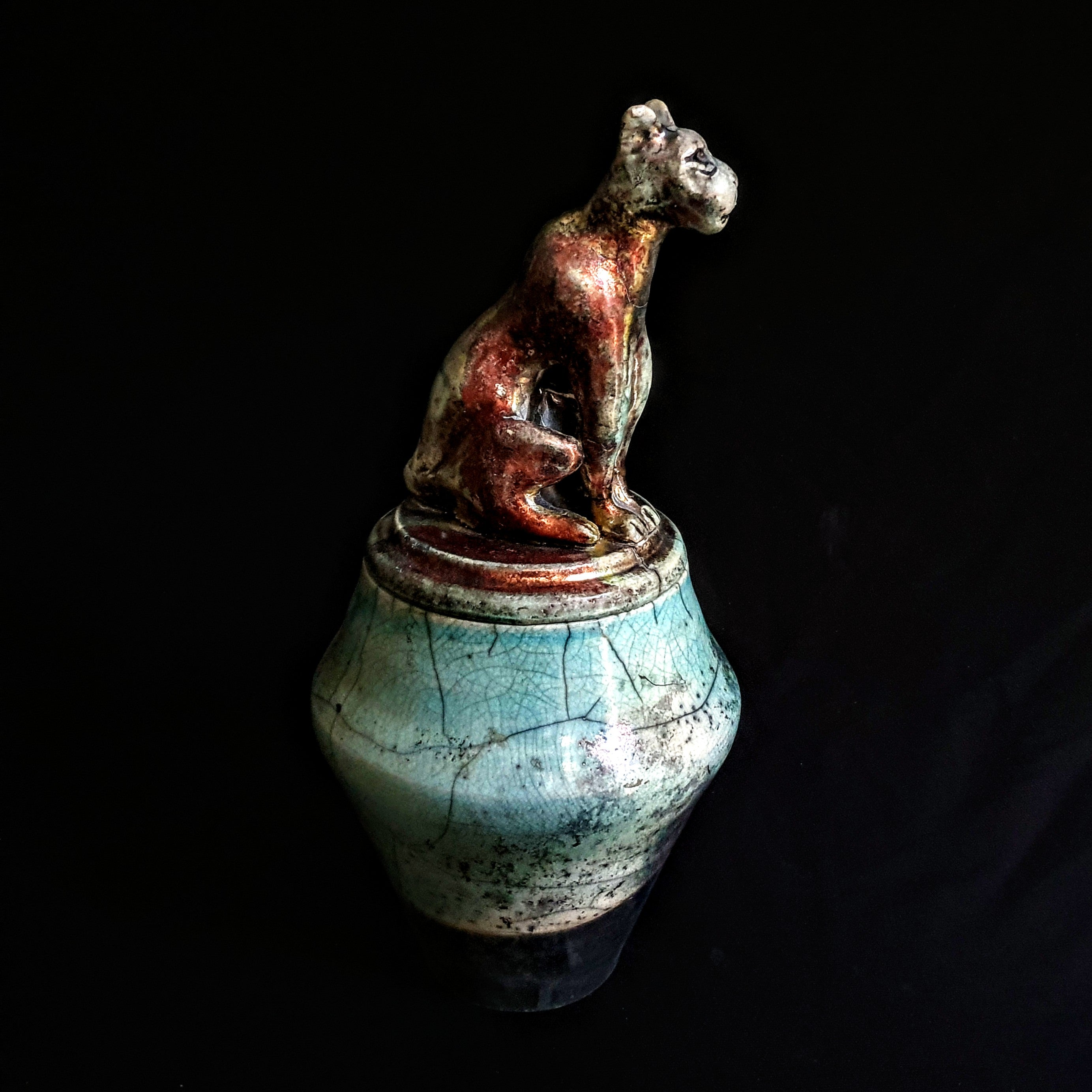 Artistic unique Pet Keepsake Urn | Handmade Raku Urn for Dog or Cat Ashes