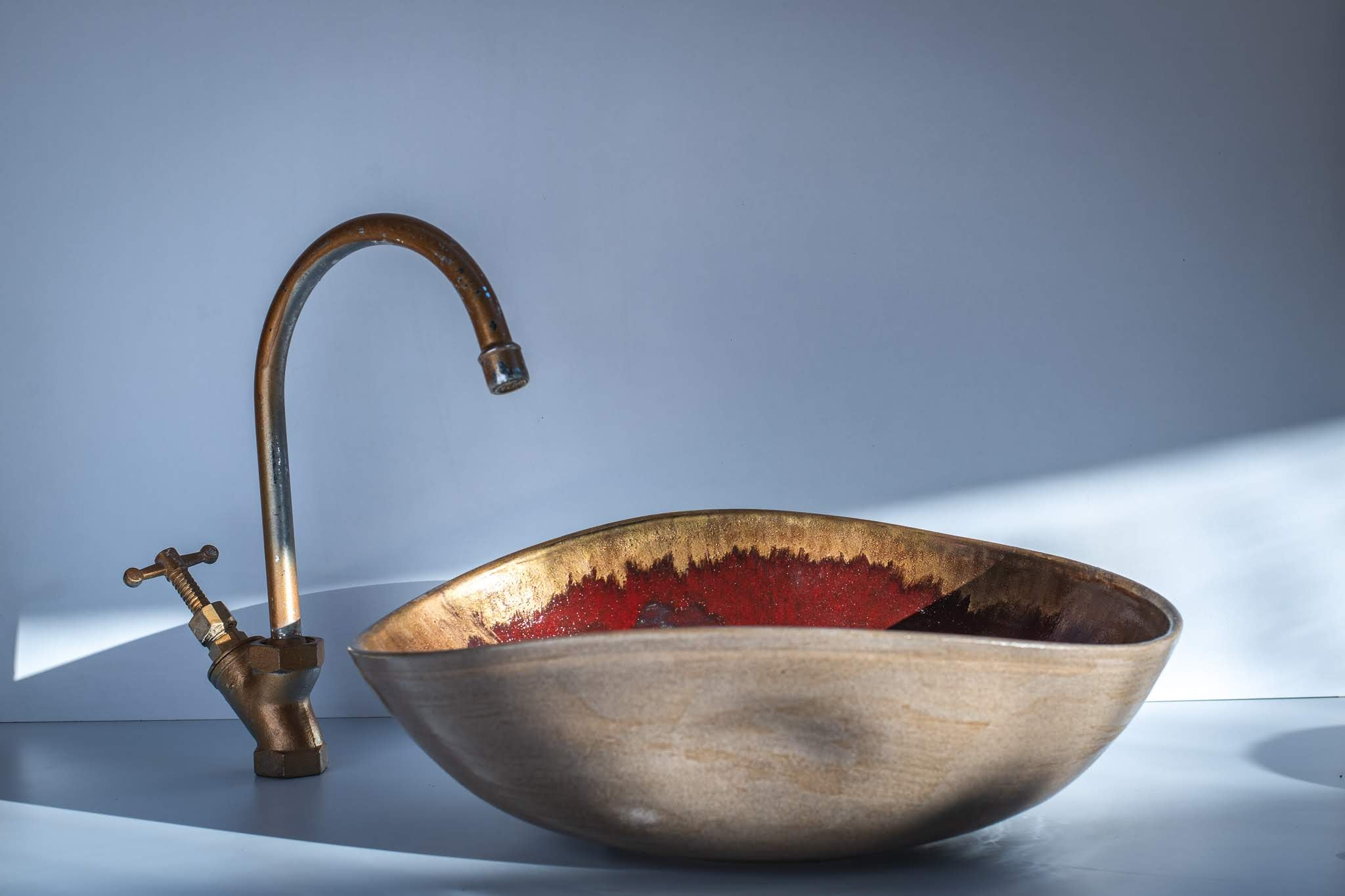 Gold Feather Handcrafted sink by Naiimpottery