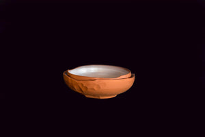 Naiim Pottery, Amorphic terracotta serving bowl, Throwing, Faceting / Cut Clay, White Glaze