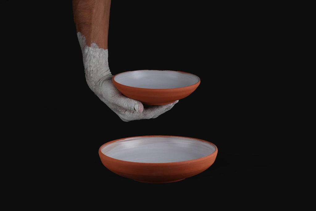 Symetrical terracotta serving bowl