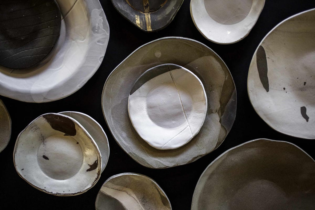 Naiim Pottery, Amophic plate, Terra cotta, Grey clay, Black clay, Folding & Texturing, Mostly white and transparent glaze