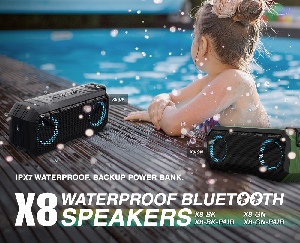 Sound Town X8 Series Portable Bluetooth Speaker, TWS Bluetooth, IPX7 Waterproof, Stereo Sound, LED Light, Built-in Mic for Phone Calls and Battery Power Bank, for Home and Outdoor, Black or Green