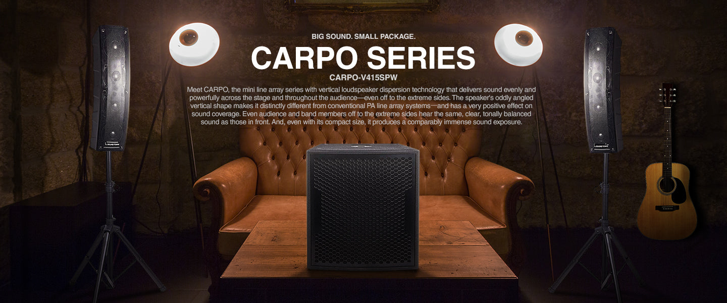 "SOUND TOWN CARPO Series Column Speaker & Subwoofer Mini Line Array System w/ Two 500W Passive Column Speakers, One 15"" 1600W Powered Subwoofer, Two Speaker Stands & 9-Feet Speakon to Speakon Cables CARPO-V415SPW"