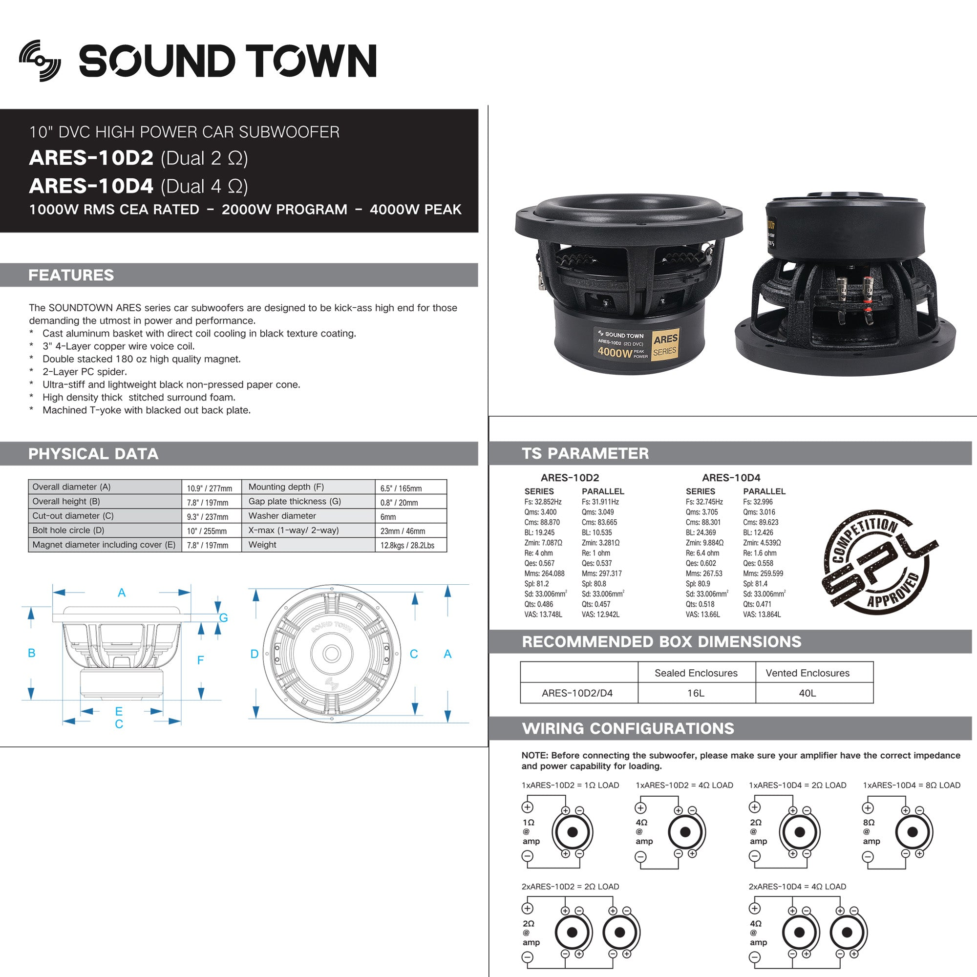 """Sound Town ARES-10D2 10"""" Dual Voice Coil 1000W Car Audio Subwoofer, Dual 2-Ohm, CEA Rated - technical specifications,"""