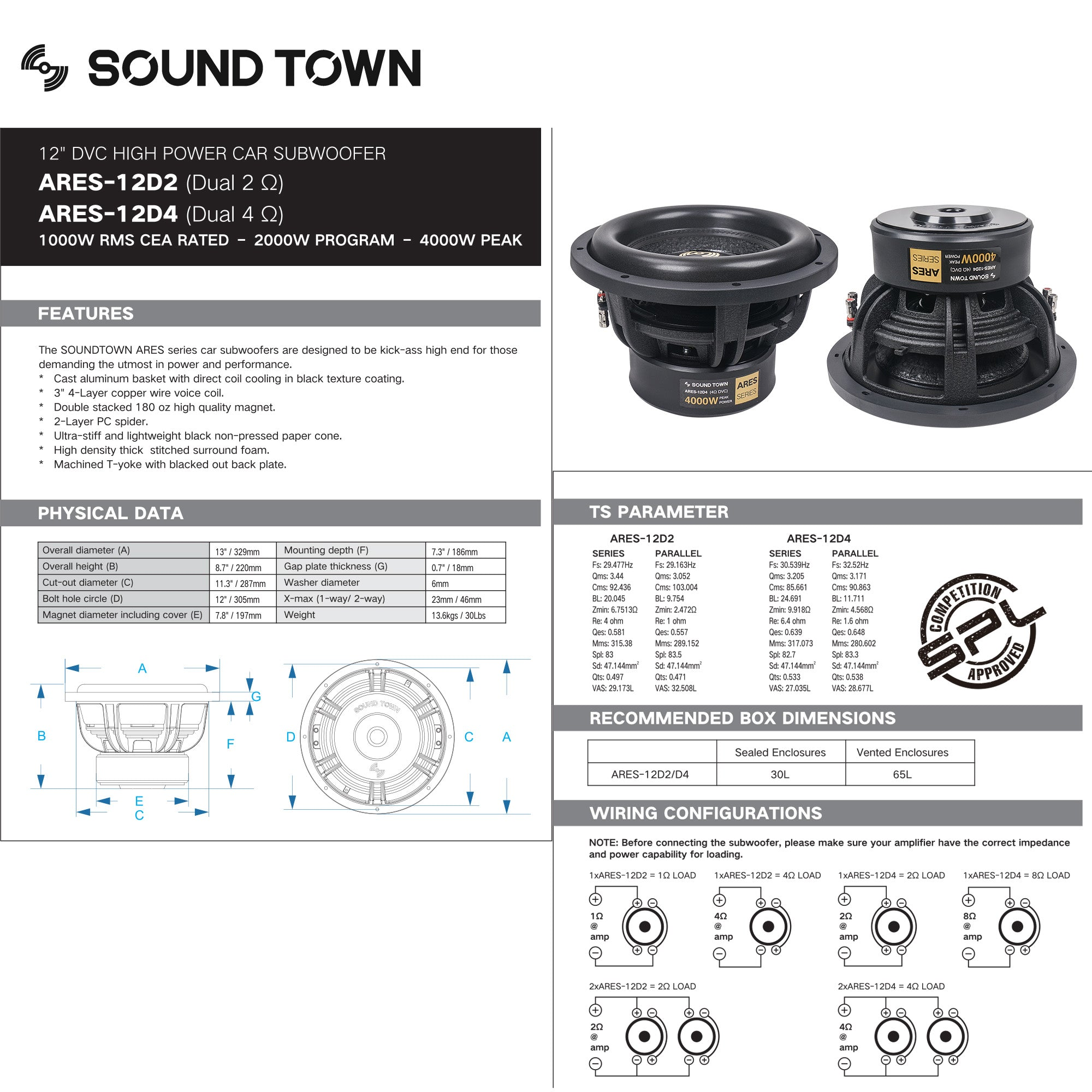 """Sound Town ARES-12D2 12"""" Dual Voice Coil 1000W Car Audio Subwoofer, Dual 2-Ohm, CEA Rated - technical specifications"""
