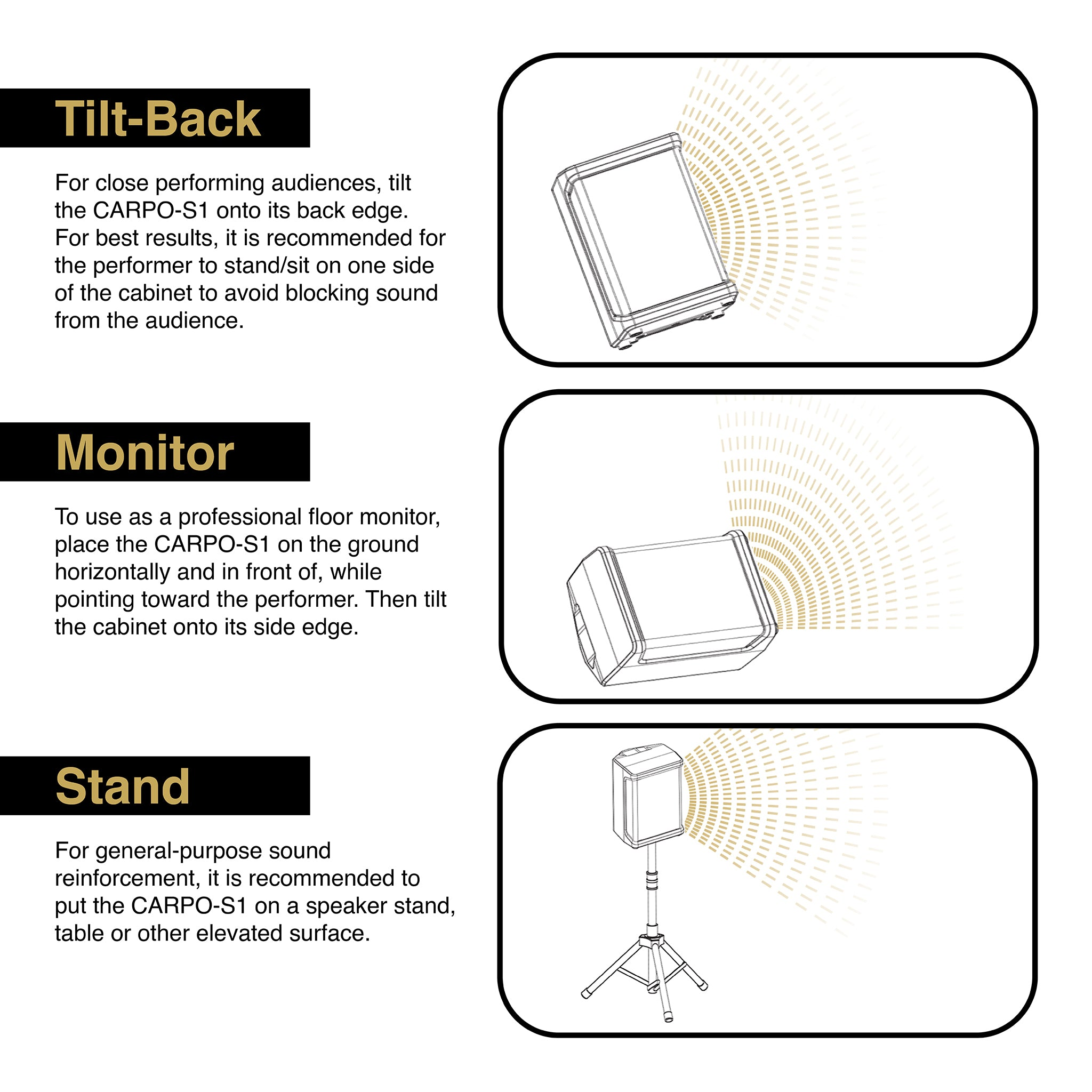 Sound Town CARPO-S1 Multi-Position Diagram, Instructions and Recommendations: Tilt-Back, Floor Monitor, Speaker Stand