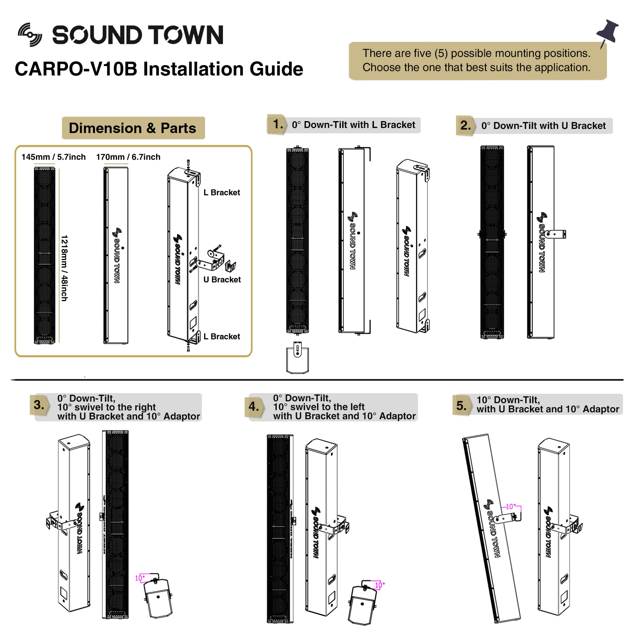 """Sound Town CARPO-V10B Passive Wall-Mount Column Mini Line Array Speaker with 8 x 5"""" Woofers, Black for Live Event, Church, Conference, Lounge - Installation Guide, How to install the L-Bracket and U-Bracket, possible mounting positions, 0° or 10° down-tilt and 10° adapter"""
