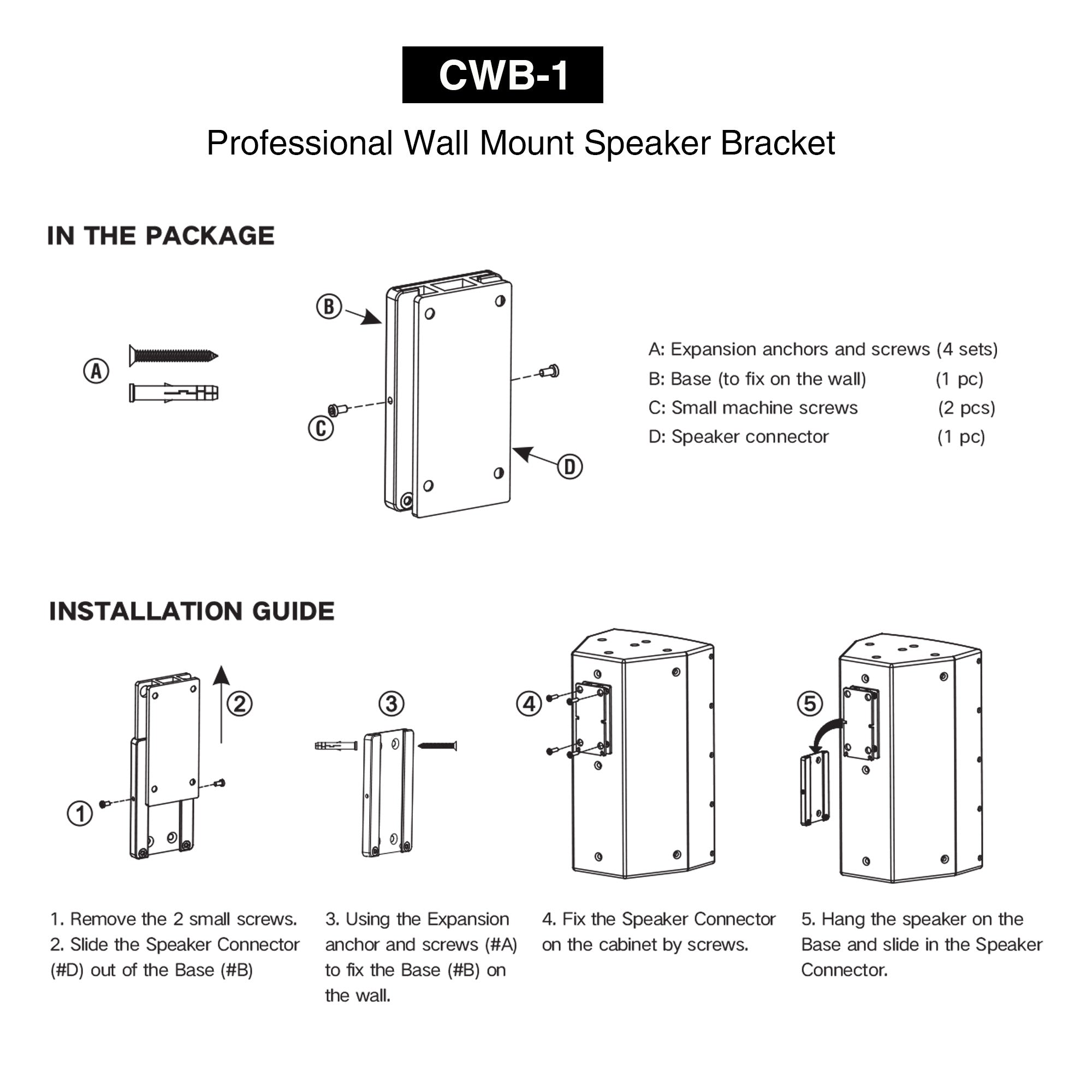 """Sound Town CWB-1-PAIR 2-Pack Universal Speaker Wall Mount Brackets, 4.25"""" x 2"""" Mounting Template, Black - In the Package, Installation Guide, How to Install Instructions, Directions"""