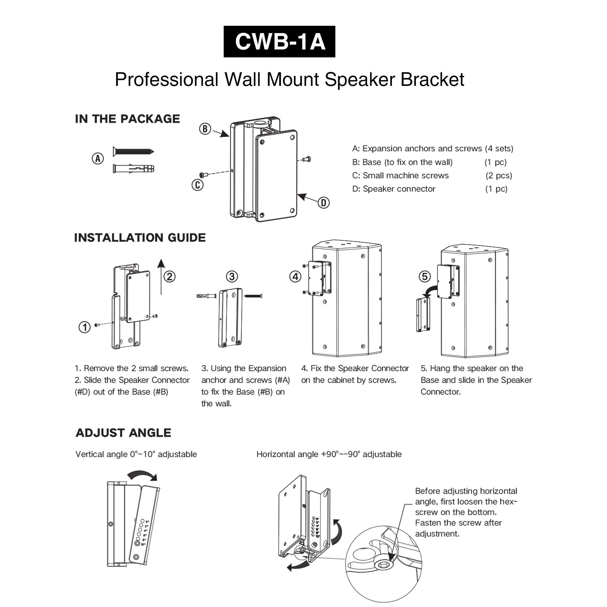 """Sound Town CWB-1A-PAIR 2-Pack Universal Speaker Wall Mount Brackets with Angle Adjustment, 4.25"""" x 2"""" Mounting Template, Black - In the Package, Installation Guide, How to Install, Directions, User Manual, Angle Adjustment Instructions, How to Adjust the Angle"""