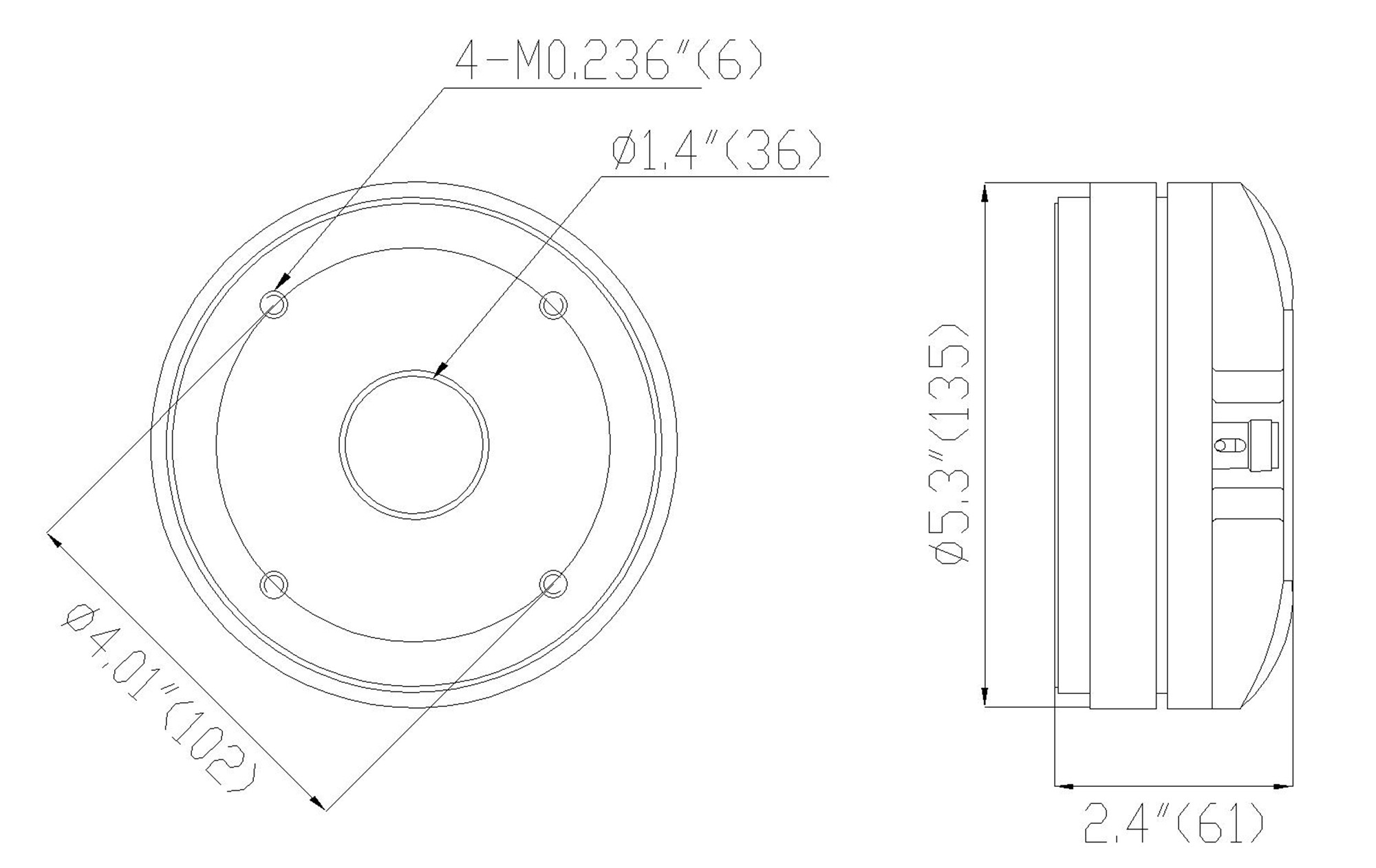 """Sound Town STHF-5103 1.4"""" Titanium Compression Driver, 120W, Pro Audio Speaker Horn Replacement Tweeter - Size, Dimensions Drawing, Mounting Information, Suggested Enclosure Volume"""