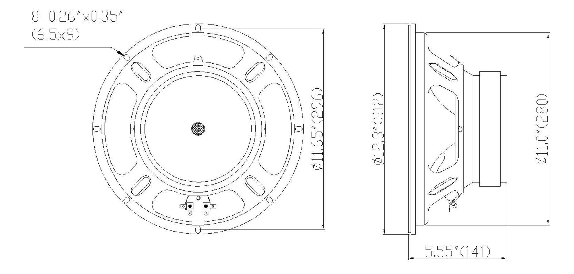 """Sound Town STLF-12VS 12"""" 250W Steel Frame Raw Woofer Replacement (Low Frequency Driver) w/ 2"""" Voice Coil, for PA/DJ Speaker, Subwoofer Cabinets - Mounting Information, Size and Dimensions"""