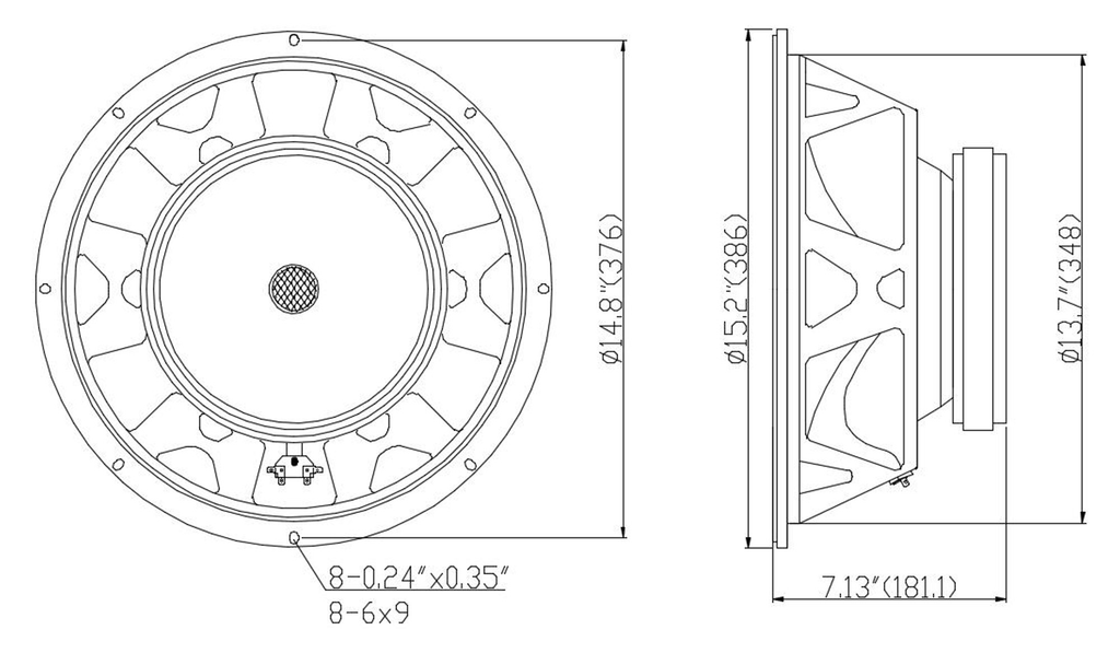 """Sound Town STLF-1504-8 15"""" 450W Raw Woofer Speaker with 4"""" Voice Coil, 100 oz Magnet, Replacement Woofer for PA/DJ Subwoofer, 8-ohm - Mounting Information, Size & Dimensions, Recommended Enclosure Volume"""
