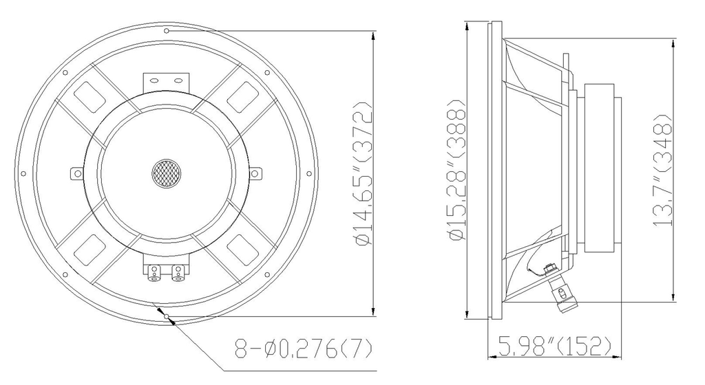 """Sound Town STLF-15GA 15"""" 300W Cast Aluminum Frame Woofer w/ 3"""" Voice Coil, Replacement Woofer for PA/DJ Speaker, Bass Guitar Cabinets - Mounting Information, Recommending Enclosure Volume, Size and Dimensions"""