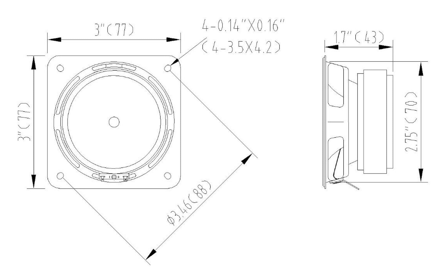 """Sound Town STWF-3 3"""" Full-Range Replacement Drivers, for PA/DJ and Column Speakers - Mounting Information, Suggested Enclosure Volume, Size & Dimensions"""