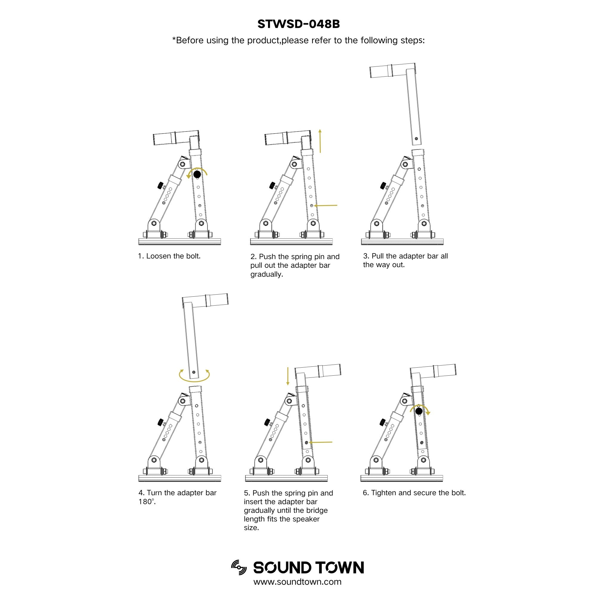 Sound Town STWSD-048B Pair of Adjustable Wall Mount Speaker Brackets with 180-degree Swivel - User Manual, How to Use, Connection Instructions