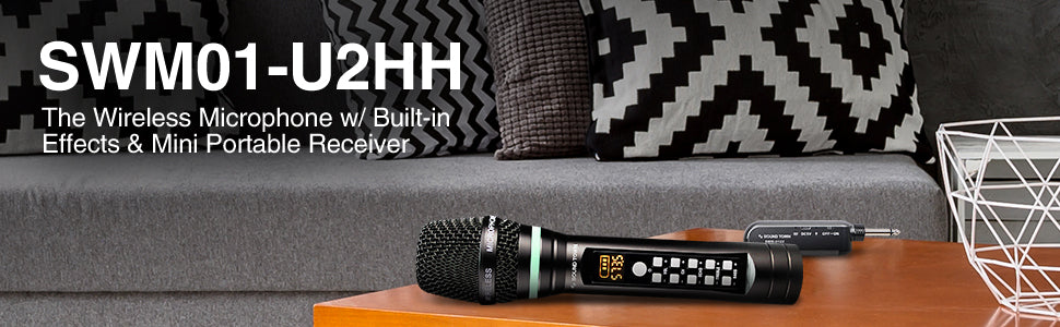 """Sound Town SWM01-U2HH 100-Channel UHF Rechargeable Wireless Handheld Microphone System with Bluetooth, Built-in Effects, 1/4"""" Mini Portable Receiver for Karaoke, Events, Church, Meetings"""