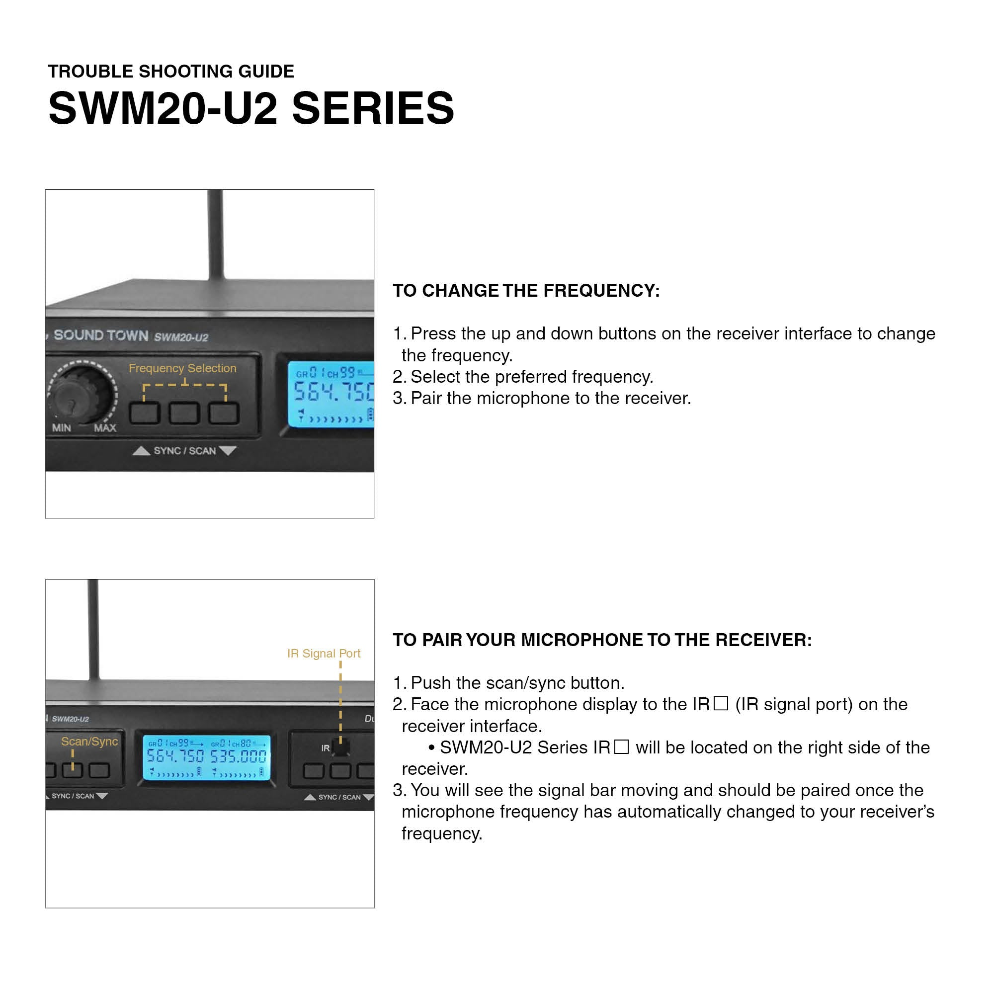 SWM20-U2 SERIES SWM20-U2HH SWM20-U2HB SWM20-U2BB Troubleshooting Guide How to Connect Sync Microphone to Receiver How to Change the Frequency