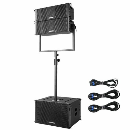 "Sound Town ZETHUS-208-212S-SS ZETHUS Series Line Array System with Pair of Compact 2X8"" Line Array Speakers, One 2X12"" Subwoofer, Mounting Pole and Audio Cables"