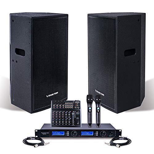 "Professional PA System with 12"" Powered PA speakers, 200-Channel Wireless Microphone System, 12-Channel Audio Mixer and Audio Cables (NESO-CARME112-S1)"