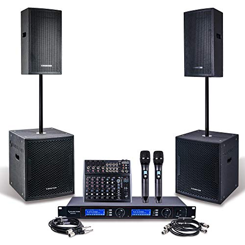 "Professional PA System Set with 12"" Powered PA speakers, 15"" Powered Subwoofers, 200-Channel Wireless Microphone System, 12-Channel Audio Mixer and Audio Cables (CARME112115-NESO-S1)"