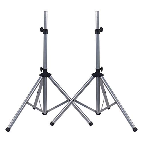 2-Pack Universal Tripod Speaker Stands w/ Adjustable Height, 35mm Compatible Insert, Locking Knob, Shaft Pin, Silver (STSD-71W-PAIR)