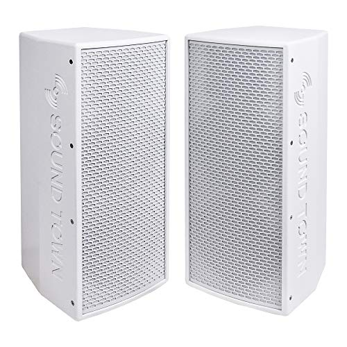 "KALE-208WPW-PAIR <br/> 2-Pack Dual 8"" 1200W Powered DJ PA Speaker w/ Bluetooth, Titanium Compression Driver, 3-Channel Mixer, White"
