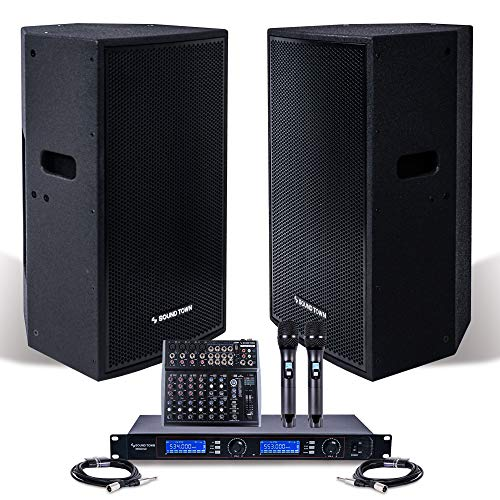 "Professional PA System with 15"" Powered PA speakers, 200-Channel Wireless Microphone System, 12-Channel Audio Mixer and Audio Cables (NESO-CARME115-S1)"