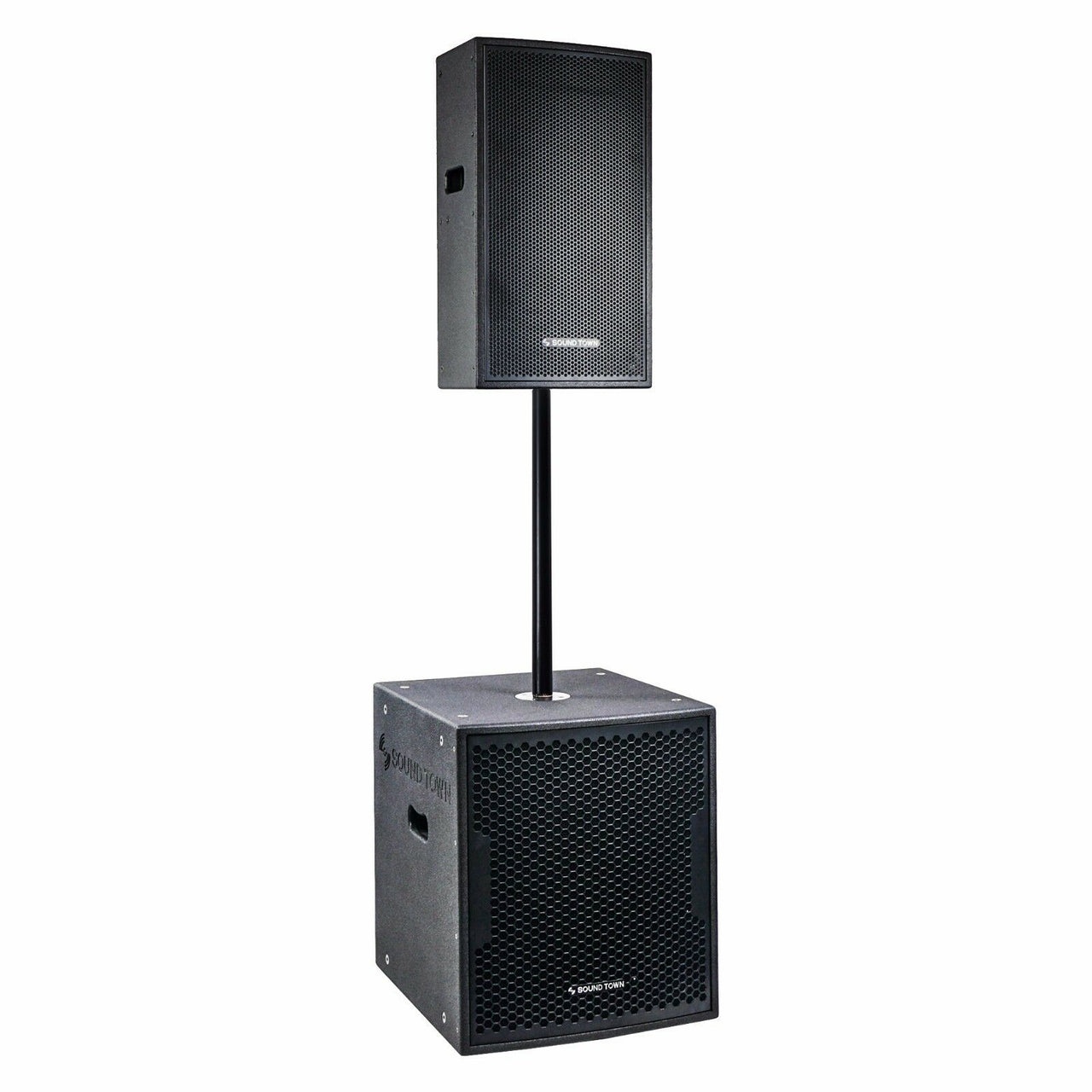 "CARME Series Powered PA Speaker and Subwoofer Combo Set with One 12"" PA Speaker, One 15"" Subwoofer, One Subwoofer Pole, Black (CARME-112BPW15SPW)"