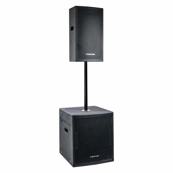 "CARME Series Powered PA Speaker and Subwoofer Combo Set with One 15"" PA Speaker, One 18"" Subwoofer, One Subwoofer Pole, Black (CARME-115BPW18SPW)"