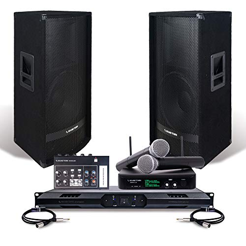 "Professional PA System Set with 15"" Full Range PA Speakers, Class-D Power Amplifier, Dual Channel Wireless Microphone System, 8-Channel Mini Mixer and Audio Cables (SWM10-METIS115-S1)"