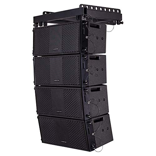 ZETHUS Series Line Array Speaker System with Four Compact 8 X 8-inch  Passive Line Array Speakers, Black for Installation, Live Sound, Bar, Club