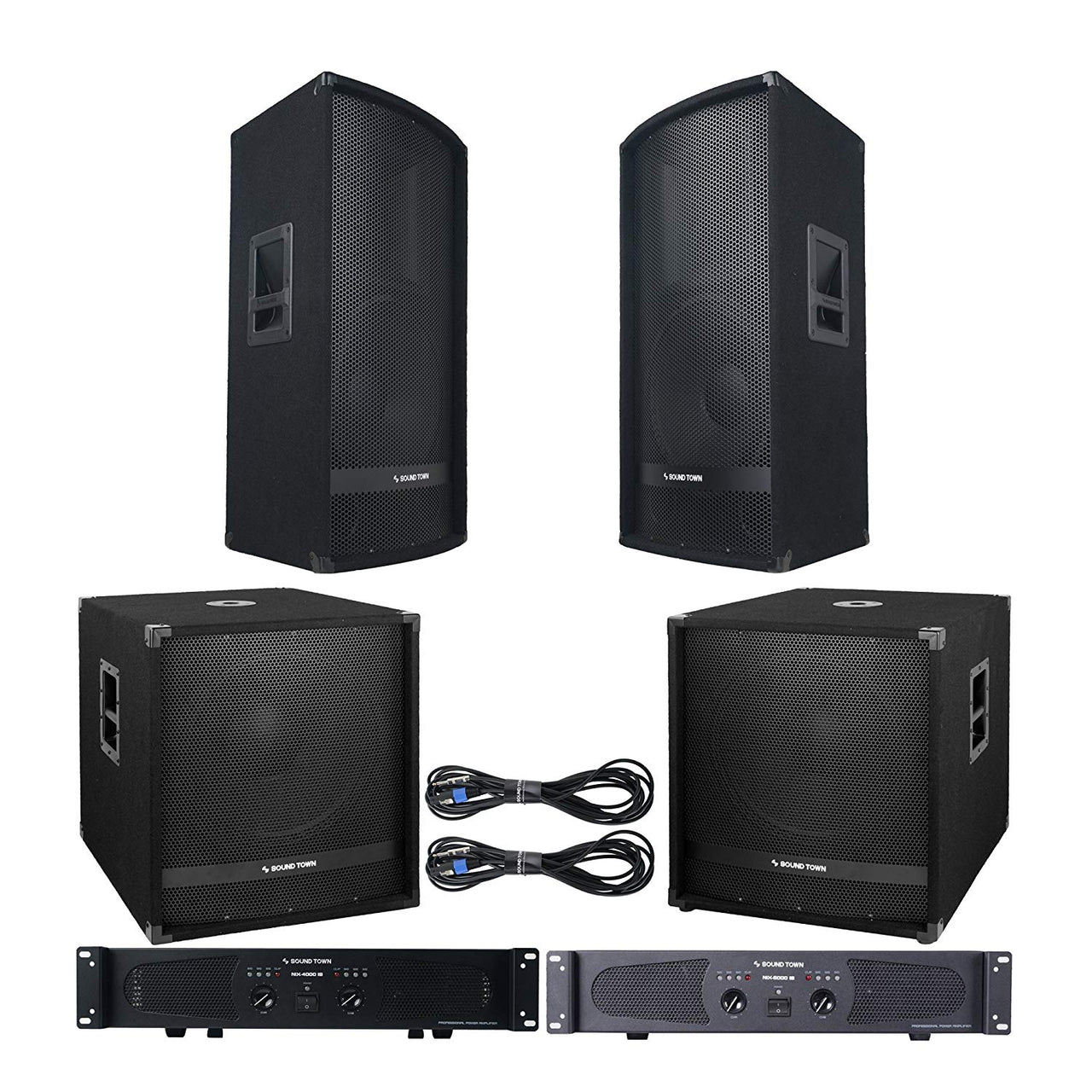"Professional PA System with 15"" Full Range PA Speakers, 18"" Subwoofers, Dual-Channel Amplifiers and Audio Cables (METIS-1518S-NIXS1)"