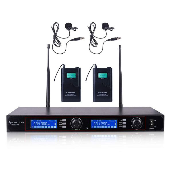 NESO-U2LL <br/>200-Channel Rack Mountable Professional UHF Wireless Microphone System with Metal Receiver, 2 Lavalier Mics, 2 Bodypack Transmitters