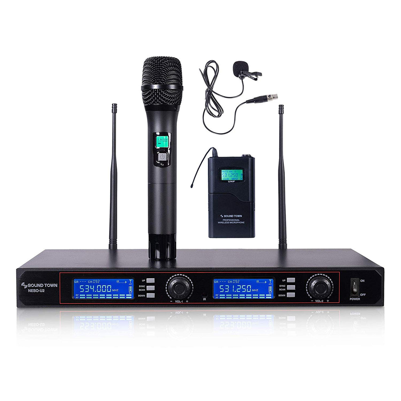 NESO-U2HL <br/> 200-Channel Rack Mountable Professional UHF Wireless Microphone System w/ Metal Receiver, Handheld Mic, Lavalier Mic, Bodypack