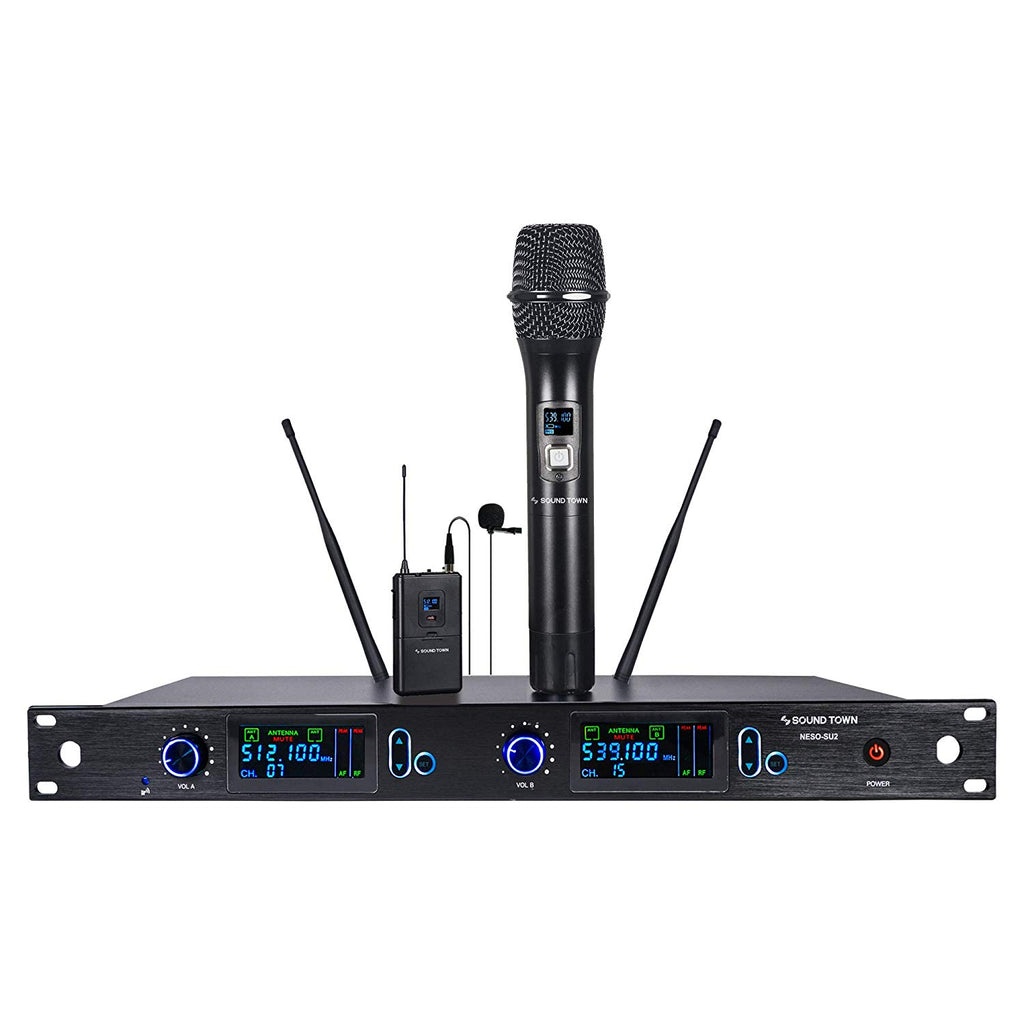 Sound Town NESO-SU2HL NESO Series Metal 200 Channels Professional UHF Wireless Microphone System with Rack Mountable Receiver, 1 Handheld Mic, 1 Lavalier Mic and Auto Scan, for Church, School and Karaoke