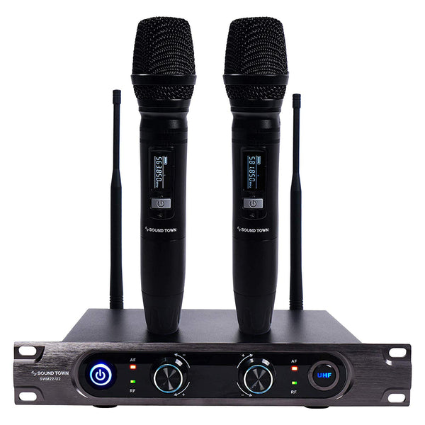 SWM22-U2 Series <br/>Metal 40-Channel Rack Mountable UHF Wireless Microphone System with 2 Metal Handheld Wireless Microphones for Church, Business Meeting, Outdoor Wedding and Karaoke