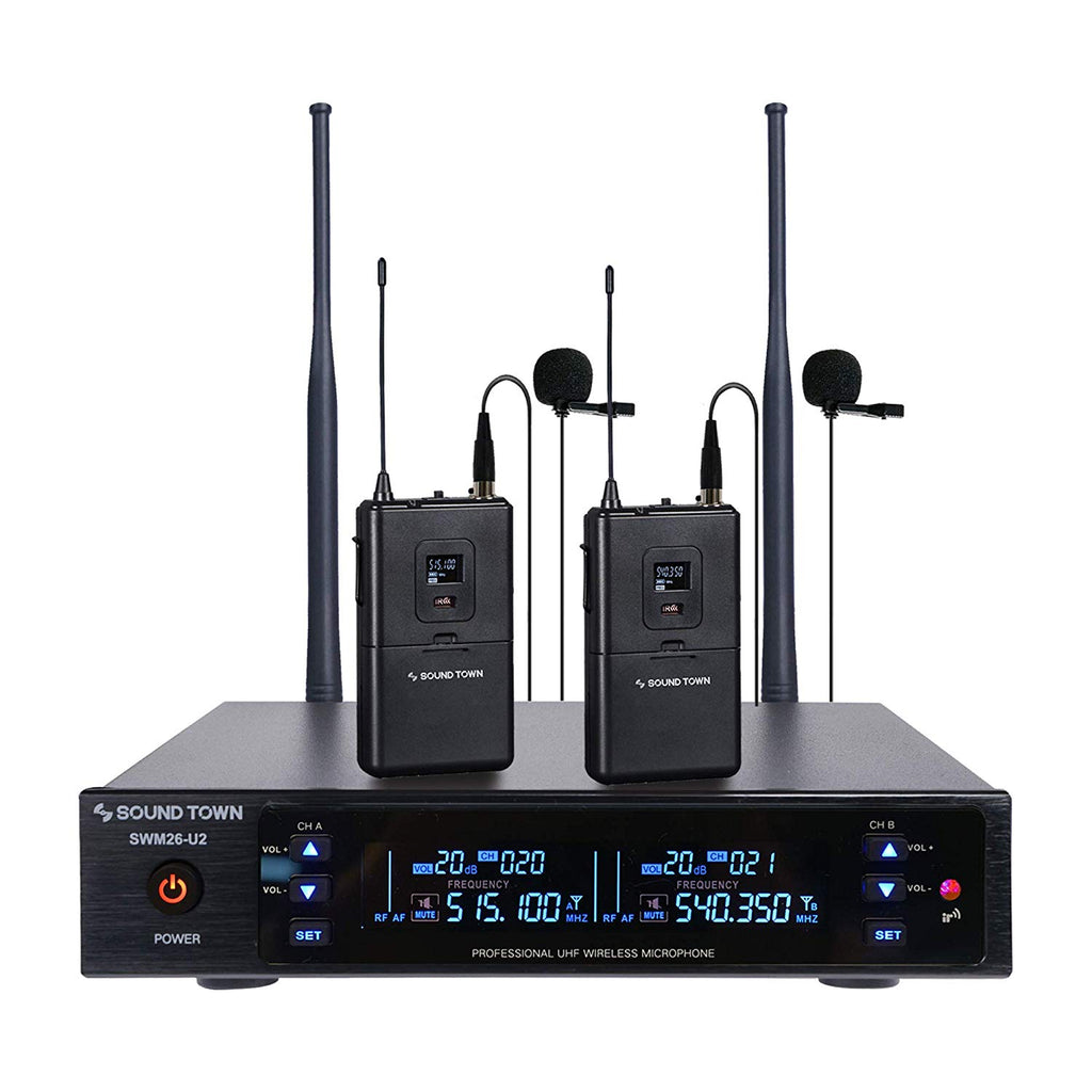 Sound Town SWM26-U2LL SWM Series Metal 200 Channels UHF Wireless Microphone System with 2 Lavalier Mics, 2 Bodypack Transmitters and Auto Scan for Church, School, Outdoor Wedding, Meeting, Party and Karaoke