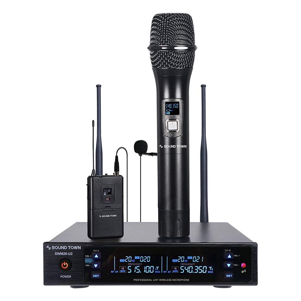 Sound Town SWM26-U2HL SWM Series Metal 200 Channels UHF Wireless Microphone System with 1 Handheld Mic, 1 Lavalier Mic and Auto Scan for Church, School, Outdoor Wedding, Meeting, Party and Karaoke