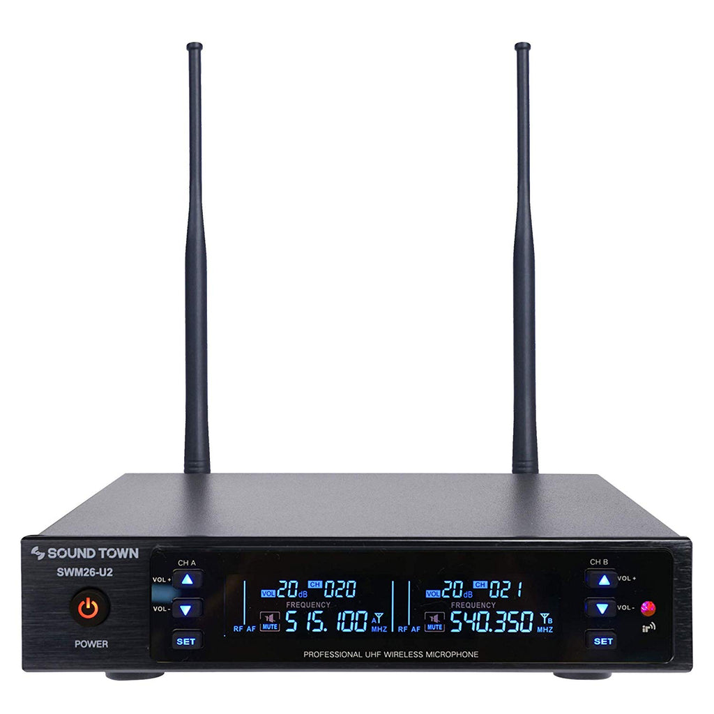 Sound Town SWM26-U2 Series Wireless Microphone System Receiver Front Panel