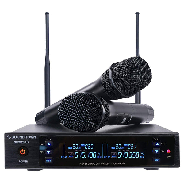 Sound Town SWM26-U2HH SWM Series Metal 200 Channels UHF Wireless Microphone System with 2 Handheld Microphones and Auto Scan, for Church, School, Outdoor Wedding, Meeting, Party and Karaoke