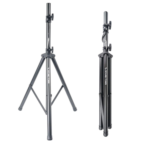 Universal Tripod Speaker Stand with Adjustable Height, 35mm Compatible Insert, Locking Knob and Shaft Pin (STSD-71B)