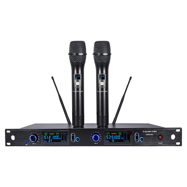 Sound Town NESO-SU2HH NESO Series Metal 200 Channels Professional UHF Wireless Microphone System with Rack Mountable Receiver, 2 Handheld Mics and Auto Scan, for Church, School, Outdoor Wedding, Meeting, Party and Karaoke